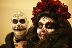 EL DIA DE LOS MUERTOS!:  Jay Mueller and Deborah Maggipinto got into the spirit of Mexico's Day of the Dead celebration. - PHOTO BY GLEN STARKEY