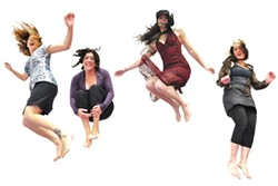JUMP FOR JOY :  On Jan. 29, Sweet Springs Saloon hosts all-girl quartet the Dirty Pink Slips (pictured), with Tall Cans and Teenage Sex opening. - PHOTO COURTESY OF THE DIRTY PINK SLIPS