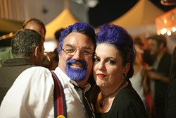 BLUE RULES! :  Bill Findley finds a kindred spirit in Inky Wine (her real name, she swears!), who both went blue for the night. - PHOTO BY GLEN STARKEY