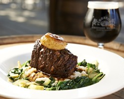 BEER BRAISED :  Braised in Walker's Reserve, these beef short ribs can be cut into by the flat side of a spoon. - PHOTO BY STEVE E. MILLER