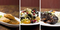 THREE FOR $30:  Here's a sampling of what's available at Novo's for this year's Restaurant Month celebration (numerous other restaurants are participating too): (l-r) Beef Turnovers (rissois de carne); Wilted Kale, Fennel and orange salad with oil cured olives and goat cheese; and Aromatic Spiced Beef short ribs. - PHOTO BY STEVE E. MILLER