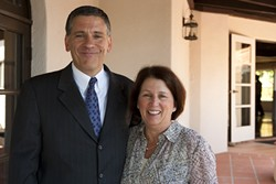 FIRST COUPLE :  University President Jeffrey Armstrong and wife Sharon fielded questions from reporters during a media-only tour of the newly remodeled University House. - PHOTO BY STEVE E. MILLER