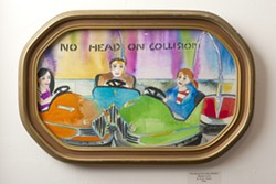 HEAD-ON :  Deceptively sweet watercolorist Tracy Taylor's work distills the essence of the fair into this series. Pictured is No Head On Collision. - PHOTO BY STEVE E. MILLER