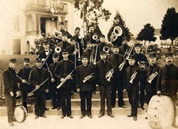 THEN AND NOW :  The 136-year-old SLO County Band, as it was and as it is today, plays the Dallidet Abode and Gardens on Aug. 8. - PHOTO COURTESY OF THE SLO COUNTY BAND