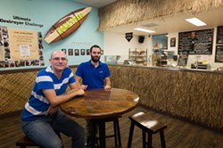 CARRYING ON THE LEGACY:  Mattia Tedeschi and Filippo Giordano are lifelong friends who grew up in Italy and relocated to the Central Coast in March 2014 in search of their slice of the American Dream. Together, they aim to keep the 25-year-old Kona's Deli tradition alive while adding a few upgrades to the ingredients and delivery service. - PHOTO BY KAORI FUNAHASHI