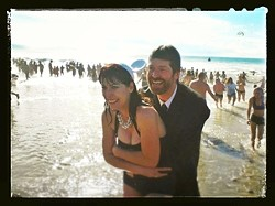 THE HAPPY COLD-PLE! :  Mr. and Mrs. Hafley emerge from the waters.