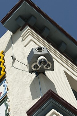 EYE AIN'T NO DUMMY :  Though a series of controversial surveillance cameras erected in Arroyo Grande's historic Village district never actually went online, they've already began to serve their purpose, according to Police Chief Steve Annibali. - PHOTO BY STEVE E. MILLER