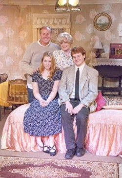AWKWARD FAMILY PHOTO :  Joe Eister, Jill Turnbow, Christina Fountain, and Kasady Riley star in Tennessee Williams' The Glass Menagerie, directed by Nehemiah Persoff, at the Pewter Plough Playhouse. - PHOTO BY BRETT WHITE