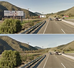WITH AND WITHOUT:  Pictured is Highway 101 north of San Luis Obispo as it stands today, and what it could look like without billboards. - PHOTO AND PHOTO ILLUSTRATION COURTESY OF PS101