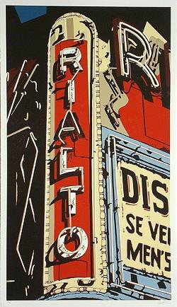 THE RIALTO :  Dave Lefner's reduction linoleum block prints were primarily created in 2008. - IMAGE COURTESY OF DAVE LEFNER