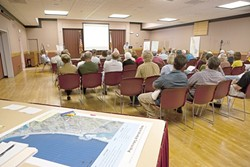 GET MOVING :  Morro Bay and Cayucos residents met with engineering firm Dudek to identify alternative sites for a planned joint-community sewage treatment plant upgrade. - PHOTO BY STEVE E. MILLER