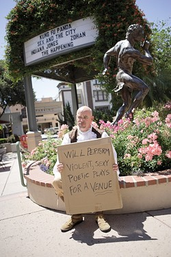 SHAKESPEARE OR BUST:  Festival participant and Arroyo Grande High School theater instructor Billy Houck illustrates the festival's homeless plight. - PHOTO BY STEVE E. MILLER