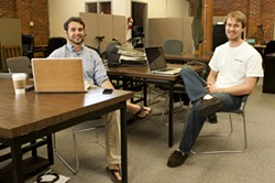 THE START: :  Zac Maurais (left) and Ben Doherty (right) are set to launch Favor, an app that brings food to your door. - PHOTO BY STEVE E. MILLER