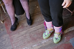 """ARTISTIC FEET :  My wife Anna (left) and Dianne """"Lady Tie Di"""" Brooke (right) show off their fashion sense at in the Garden Shed."""