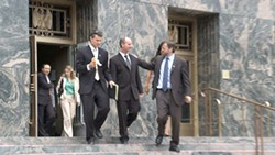 WAITING FOR A VERDICT :  Lynch left court with his public defenders, John Littrell (left) and Reuven Cohen (right) after closing arguments. Less than 24 hours later he would receive an answer. - PHOTO COURTESY OF RICK RAY FILMS