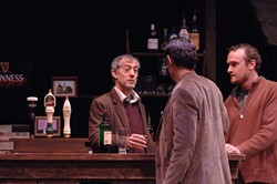 WEIRD NIGHT :  Jack (Peter Hadres), Finbar (Andrew Philpot), and Jim (Evans Jarnefeldt) tell tales and swap a few insults in PCPA's production of The Weir. - PHOTO BY LUIS ESCOBAR/ REFLECTIONS PHOTOGRAPHY STUDIO
