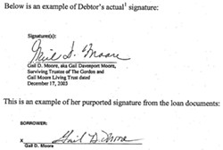 DISCREPANCY :  Gail Moore, the mother of embattled local agriculturalist Mark Moore, contends she didn't sign a $900,000 loan that bears her name. - IMAGE COURTESY OF UNITED STATES BANKRUPTCY COURT