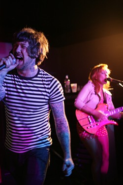 PRIMAL SCREAM THERAPY! :  Singer Dirty Curtis Campbell and bassist G. Mac Cherry (aka Hayley Thomas) of Magazine Dirty lay down the law. - PHOTOS BY GLEN STARKEY