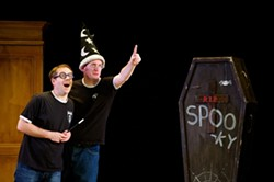 DODGY MAGIC:  An adoring Harry (James Percy, left) admires Dumbledore's (Delme Thomas) finger wand in the Potter parody 'Potted Potter.' - PHOTO COURTESY OF CAL POLY ARTS