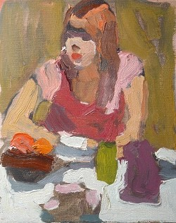 DECEPTIVELY SIMPLE :  Peggi Kroll-Roberts captures figures with spare, thick strokes, making images come alive with seeming simplicity. - ARTWORK BY PEGGI KROLL-ROBERTS