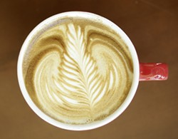 LATTE ART :  Jonathan Withers of Joe Momma's Coffee poured this leaf. - STEVE E. MILLER