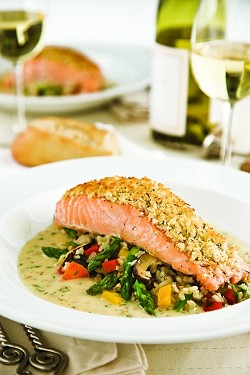 DILL-LICIOUS:  The Brothers' baked horseradish-dill crusted Scottish salmon is served with whole grain mustard sauce and vegetable brown rice. - PHOTO BY JESSICA NICOSIA-NADLER