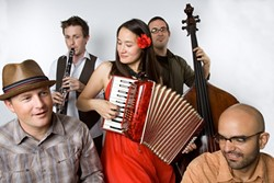 MULTILINGUAL!:  Jessica Fichot (center) and her band return to the Steynberg Gallery on April 25 to deliver an evening of French chanson, Chinese '40s swing, Gypsy jazz, and international folk music. - PHOTO COURTESY OF JESSICA FICHOT