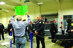 TENSE SITUATION:  Embattled Vandenberg Air Force Base protestor Dennis Apel showed up at the March 27 Santa Maria City Council meeting to voice his disapproval of having an Immigration and Customs Enforcement (ICE) facility in town. - PHOTO BY AMY ASMAN