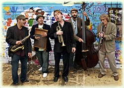 A POLISH GUY WALKS INTO OAKLAND … :  The California Honeydrops, led by Polish-born Lech Wierzynsk (center), are no joke. This seriously good Bay Area band plays blues, gospel, second line jazz, and early R&B at SLO Brew on Feb. 16. - PHOTO COURTESY OF THE CALIFORNIA HONEYDROPS