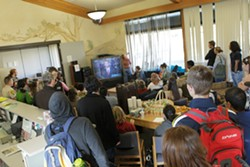 BREAKFAST WITH OBAMA :  Watching pre-inauguration TV at the Cuesta student center. - PHOTO BY STEVE E. MILLER