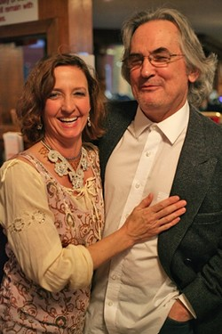 POWER COUPLE!:  Local sculptor Lindsay Wilcox and her theater actor husband John Pillow made the scene, adding just the right amount of glitz and glamour. - PHOTO BY GLEN STARKEY