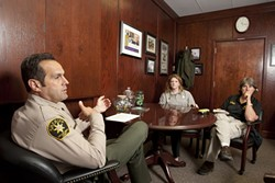 COMMUNICATION IS KEY :  Sheriff Ian Parkinson, Denise Braun, and Cathy Bianchi work together to create better communication between SLO County Mental Health Services and the Sheriff's Department. - PHOTOS BY STEVE E. MILLER