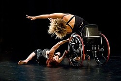 """REACH :  Axis dancers Sonsherée Giles and Alice Sheppard perform in Alex Ketley's """"Vessel."""" - PHOTO BY KEVIN COLTON"""