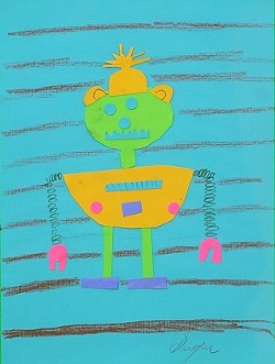 ROBOT! :  Eight-year-old Sevryn Jiminez created this mixed media image of a robot. - IMAGES COURTESY OF SALON 544
