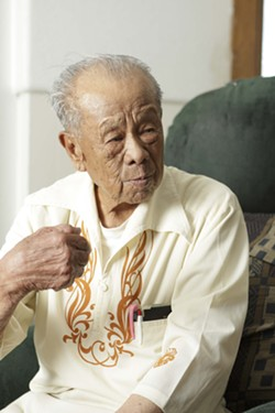THE 'GODFATHER' :  Isidro 'Sonny' Javier, known to his friends as 'The Godfather,' is the last known surviving Filipino  veteran of World War II in SLO County. - PHOTO BY STEVE E. MILLER