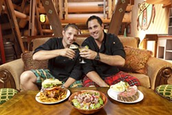 CHEERS :  Martin Beckett, the chef and general manager of The Kilt in Paso Robles (left) toasts the opening of the San Luis Obispo restaurant with his counterpart Chris Beckett. - PHOTO BY STEVE E. MILLER