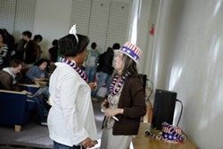CAL POLY GETS A LESSON IN HISTORY :  Dr. Gloria Velasquez and Renoda Campell celebrate. - PHOTO BY STEVE E. MILLER