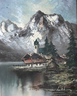 IT'S MINE! ALL MINE! :  I bought this odd little image of Berchtesgaden, Germany, for $5. After cleaning off the bird droppings, I discovered the typed description on the back had attributed it to the wrong artist. - PHOTO BY GLEN STARKEY