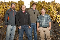 TURKEY DAY:  Vintners (l-r) Coby Parker-Garcia, Nathan Carlson, Tom Greenough, and Mike Sinor share their mouth-watering Thanksgiving plans. - PHOTO BY STEVE E. MILLER