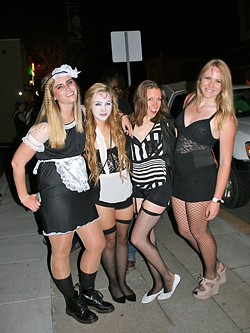 IT'S JUST A JUMP TO THE LEFT:  From left, Cal Poly students Danielle Bonnet, Erin Doherty, Brianna Ruland, and Jessica Johnson show off their 'Rocky Horror' finery. - PHOTO BY HAYLEY THOMAS