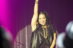 SALTY STYLE:  After nearly 30 years of singing rap tunes, Salt (Cheryl James) can still strut her stuff in stilettos. Salt-N-Pepa played the Chumash Casino Resort on Nov. 19. - PHOTO COURTESY OF SHAWN WYATT