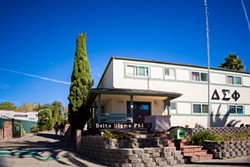THE SCENE:  An alleged armed robbery and alleged drug activity at the Delta Sigma Phi fraternity house on California Boulevard resulted in the arrests of six Cal Poly students in the span of less than a month. - PHOTO BY KAORI FUNAHASHI