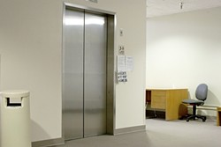 NO LOVE IN AN ELEVATOR:  The main elevator at the San Luis Obispo Court Annex has been out of commission since October, prompting a complaint to the U.S. Department of Justice for alleged violations of the Americans with Disabilities Act. - PHOTO BY STEVE E. MILLER