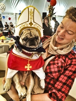 BLESS YOU!:  Karl the Pope and his owner, Amy Hart, spread the good word. - PHOTO BY GLEN STARKEY