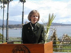 """CAPPS ON OIL :  U.S. Rep. Lois Capps represents much of the coast spanning Santa Barbara and San Luis Obispo counties. She praised Secretary of the Interior Ken Salazar for his Feb. 13 announcement for a """"comprehensive energy plan for the U.S. Outer Continental Shelf."""" - FILE PHOTO"""