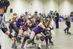 CAL SKATE ROLLER DERBY V WINE TOWN ROLLERS : - PHOTO BY COLIN RIGLEY