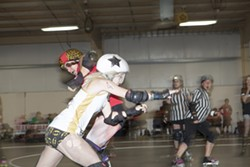 NA NA NA NA NA NA NA NA:  CCAD's Talia al Ghoul goes head to head with Paso Aggressive's Lola Von Carnage—who was wearing my favorite pair of tights of the night. - PHOTO BY COLIN RIGLEY