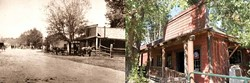 THEN AND NOW :  The tree in front of the rustic Pozo Saloon is considerably bigger today than it was in 1870, when the photo at left was taken. Aside from that, the saloon's exterior remains largely the same. - PHOTO COURTESY OF POZO SALOON