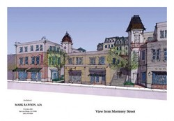 """REACH FOR THE SKY :  Closed-door negotiations between SLO city officials and developers are hammering out all the details of """"Chinatown,� a five-story 78-foot development which would require raising the downtown height limit. - PHOTO BY JESSE ACOSTA"""
