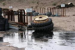 ANOTHER MAJOR SPILL :  A second major oil spill in as many months at the Northern Santa Barbara County Greka Energy Corp. facility spread to Firestone Vineyard property. More than 84,000 gallons of oil and processed water spilled on Jan. 4. - PHOTO COURTESY OF THE SANTA BARBARA COUNTY FIRE DEPARTMENT
